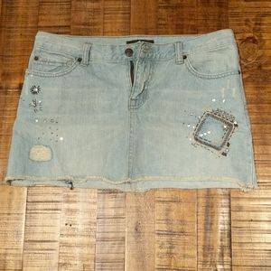 Boho denim mini skirt